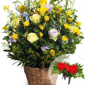 유채꽃장미바구니1(코사지2개무료)